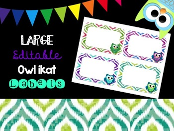 Editable Owl and Ikat Labels (Large)