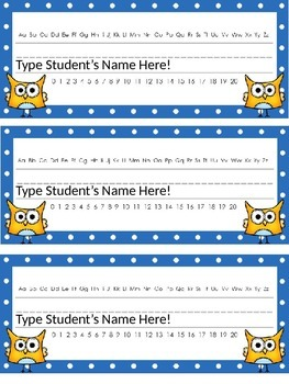Editable Owl and Polka Dot Themed Name Desk Plates w/Alphabet and Numbers 0 -20