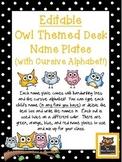 Editable Owl and Polka Dot Themed Name Desk Plates w/Cursive Letters