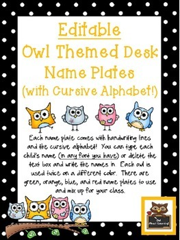 Editable Owl and Polka Dot Themed Name Desk Plates w/Cursi