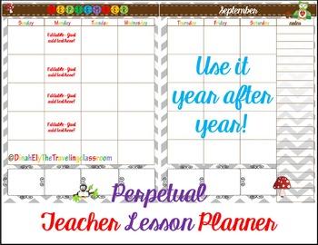 Teacher Binder Lesson Planner - two page editable calendar 2017 2018 (Chevron)