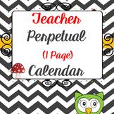 Editable Teacher Planners - 2017 2018 one page chevron calendar set