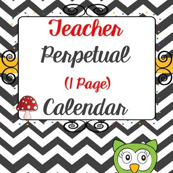 Editable Teacher Planners - one page chevron calendar set