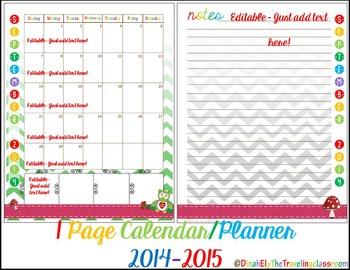 Editable Teacher Binder Planner - 2017 2018 one page calendar {Chevron Theme}