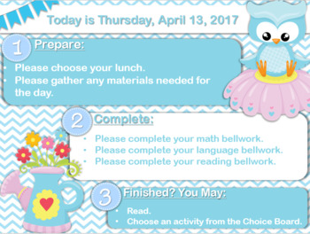 Editable Owls & Flowers Morning Board Templates