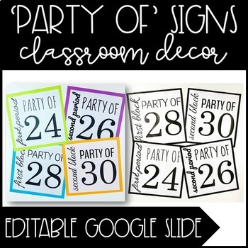 Editable 'PARTY OF' Signs - Classroom Decor - Google Slide