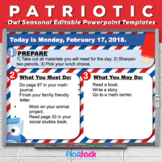 Editable PATRIOTIC Owl Themed Morning Work PowerPoint Templates