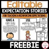 Editable PBIS Expectation Stories FREEBIE
