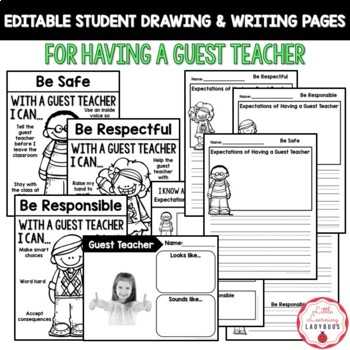 Editable PBIS Rules Materials {for teaching expectations of a guest teacher}