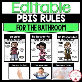 Editable PBIS Rules Materials {for teaching expectations of the bathroom}