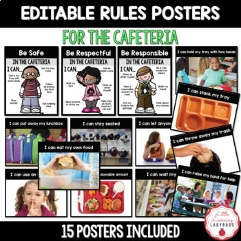 Editable PBIS Rules Materials {for teaching expectations of the cafeteria}