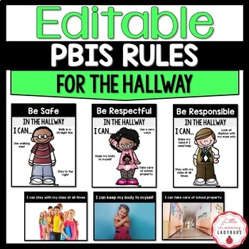 Editable PBIS Rules Materials {for teaching expectations of the hallway}