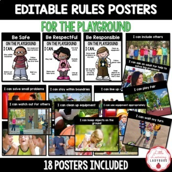 Editable PBIS Rules Materials {for teaching expectations of the playground}
