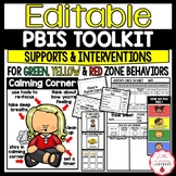 Editable PBIS Toolkit {Green, Yellow, and Red Zone Supports & Interventions}