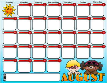 Editable PDF Calendar - August 2016