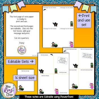 Halloween Editable Notes - Exit Tickets - Rewards - Comprehension Checks