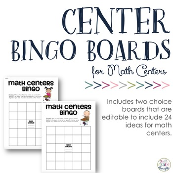 {Editable PDF & PPT} Math Center Bingo Boards