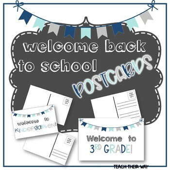 Editable Welcome Back to School Postcards to Students All Grades | Nautical PDF