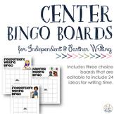 {Editable PDF & PPT} Independent & Partner Writing Bingo Boards