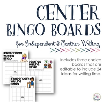 {Editable PDF & PPT} Independent & Partner Writing Bingo Boards