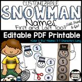 Snowman Names; Name Building Practice Literacy Center, Easy Editable PDF
