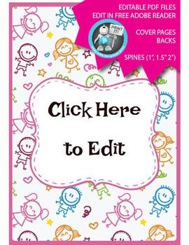 Editable PDF Teacher Binder Cover - Super Easy to Edit, Cover, Back, Spine