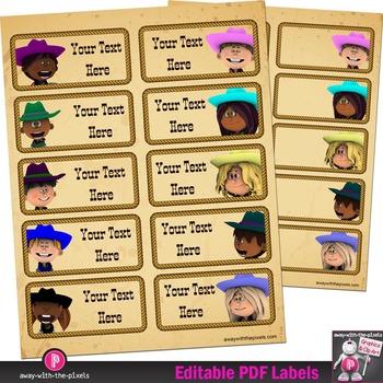 "Editable PDF Western Cowboy Classroom 4"" x 2"" Labels Plus Blank Labels"