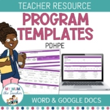Editable PDHPE Program Template - K-6