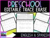 Editable | PRESCHOOL Trace Erase Name, #'s, Letter Practice Back to School