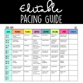 Editable Pacing Guide