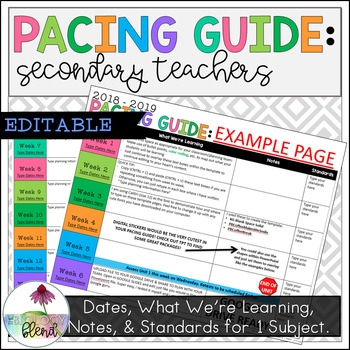 Editable Pacing Guide for Secondary Teachers
