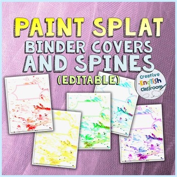 Editable Paint Splat Binder Covers and Spines