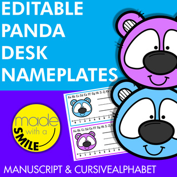 Editable Panda Desk Nameplates (PowerPoint) Freebie