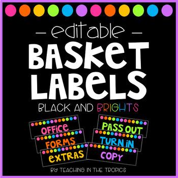 Editable Paper Basket Labels
