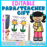 Editable Paraprofessional and Teacher Appreciation Gift