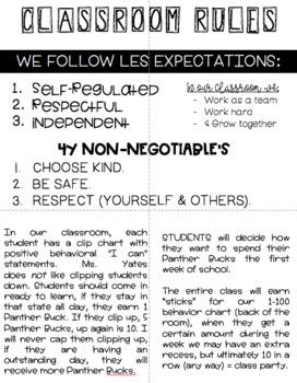 Editable Parent Classroom Handbook