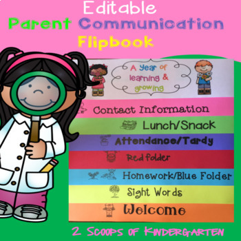 Editable Parent Communication Flipbook (Learning & Growing theme)