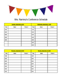 Editable Parent Conference Schedule