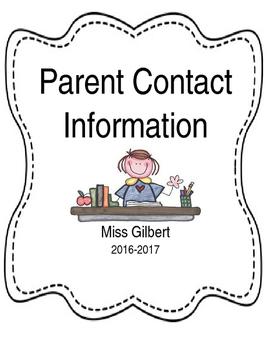 Editable Parent Contact Binder Cover