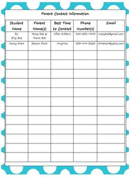 Editable Parent Contact and Communication Log by Little Miss Kim's ...