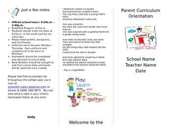 Editable Parent Curriculum Night Handout