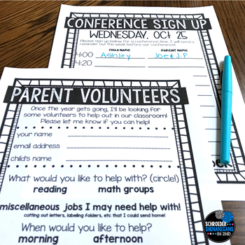 Editable Parent Forms for Back to school - volunteers and conference sign ups