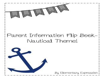 Editable Parent Info. Flip Book-Nautical Theme