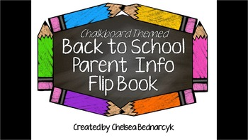 Editable Parent Info Open House Flipbook (Chalkboard Theme)