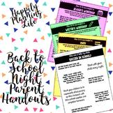 Editable Back to School Night Parent Handouts
