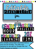 Editable Parent Letter for Genius Hour