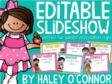 Editable Back to School Slideshow {Curriculum Night, Open House, Parent Night}