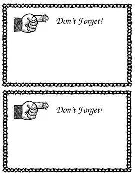 FREEBIE Editable Parent Reminder Note- Free Printable Form