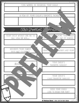 Parent Survey and Supply List BUNDLE