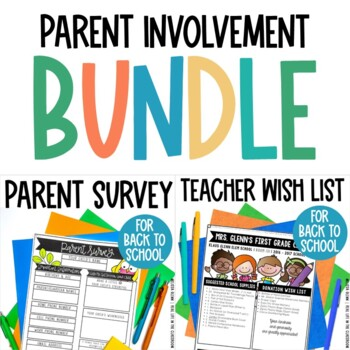 Editable Parent Survey and Supply List BUNDLE for Back to School